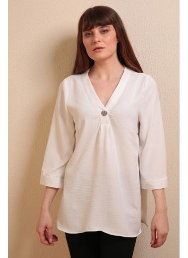 Reyon V Yaka Salaş Bluz Beyaz Beyaz